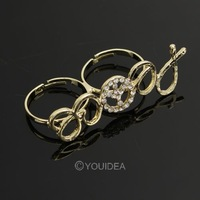 Wholesale - 20pcs 2013 Jewelry Golden Punk Retro Style Rhinestone Peace Sign Design Double refers to rings 60098