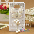 New/phone Case Cover for Samsung Galaxy SII S2 i9100,bling Rhinestone crystal,butterfly bowknot with pearl tassel, free shipping