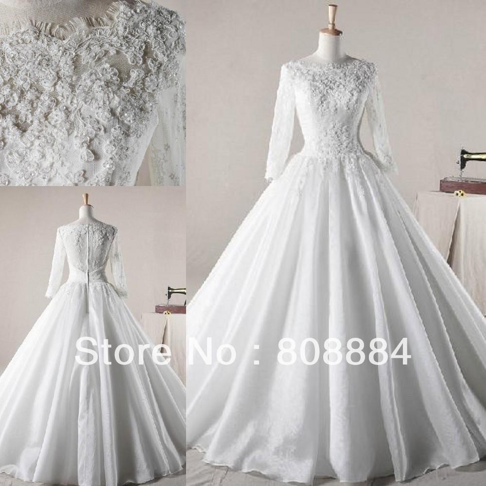 Wedding Dresses Long Sleeves High Colar 93
