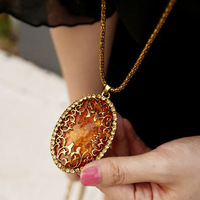 Free shipping 2014 new accessories punk fake amber big gem pendant cutout necklace chain vintage long design sweater line women
