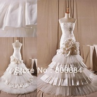 Real photos strapless royal pleated tiered bottom flowers wrap satin mermaid wedding dresses
