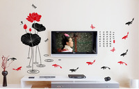 Free shipping 60*90cm Chinoiserie wall decoration Lotus leaf small pool with dragonfly Chinese brush drawing wall sticker