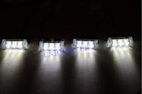 4 X 3 LED White Car Police Strobe Flash Emergency Light