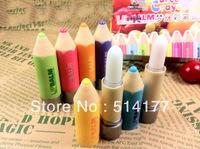 Free shipping-24pcs/lot lovely colour penpacking Moisturizing anti-cracking Pure natural plant lip balm,Lip Care Balm
