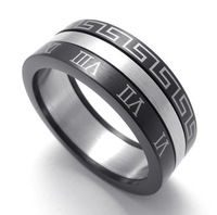 316L Stainless Steel Men's Fashion Great Wall Roman Numbers Spinner Rings SZ#8-12