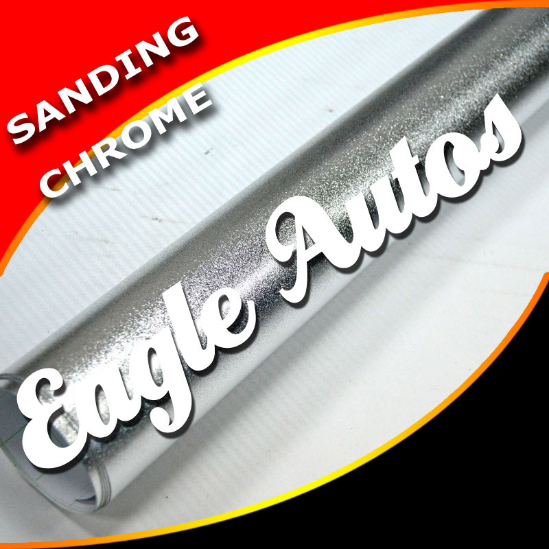Sanding Silver Mirror Chrome Carbon Vinyl Best Car Decoration Sheet / Air Free / Size:5M/10M/15M/20M / Free shipping(China (Mainland))