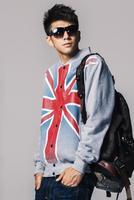 Free Shipping Men's Coat/ Fashion Jacket with Stand Collar/ Men's Sports Cardigan with UK Flag Print/ Stylish Baseball Uniform