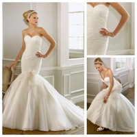 Custom Made Top Quality Chic & Modern Glamorous & Dramatic Organza Ruched Floral Pleated Bodice Sleeveless Lace Wedding Dress