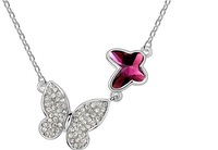 Free Shipping Wholesale, Fashion Jewelry,Charm Two Butterfly Crystal Pendant Necklace, Make with Swarovski Elements (3- colors)