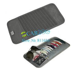 Car Visor CD DVD Disk Card Case Holder Clipper Bag Hold 12PCS Disks Free Shipping 8733(China (Mainland))
