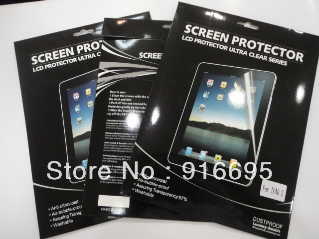 Free HongKong Shipping LCD Clear Film Screen Protector Guarder For iPad2 iPad 3 In Retail Package;20pcs/lot(China (Mainland))