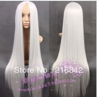 Free shipping>>>X77@ NEW 100CM WHITE LONG STRAIGHT COSPLAY WIG