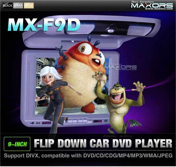 9'' Flip down DVD player / SD card reader/IR function/FM transmit/ wireless controller/ 32bit games/ USB/MP4/ DIVX(China (Mainland))