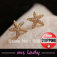 Hot selling Star Stud Earrings Wholesale 12pairs/lot Free Shipping HK Airmail