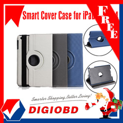 360 degree Rotatable twill fiber texture smart cover case for iPad 2, iPad 3 &amp; iPad 4 with Stand Function(China (Mainland))