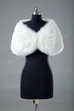 Retail Warm Faux Fur Ivory Bolero Wedding Wrap Shawl Bridal Jacket Coat Accessories Free Shipping 5758(China (Mainland))