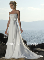 Free Shipping Hot Style Appliques Flowers Beading Sash Scoop Short White Organza Wedding Dresses 2013 Bow A-line Knee Custom W60