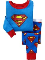 2012 brand new design, kids boy's super man long sleeve cotton pajamas 2 pc set free shipping