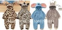 baby romper lovely Animal design romper Leopard zebra elephant romper Fleece autumn warm