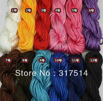 Wholesale 1mm thinkness shamballa Rope /Muticolor Beading Cord fit shamballa jewelry light silk rope string High Tenacity