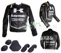 Free shipping kawasaki Men's Motor PU Jacket Motorcycle Jacket Racing Jacket Motocross jacket Waterproof Black
