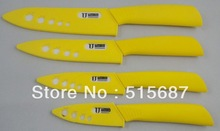 "4PCS/set White Blade Ceramic Knife , 3""/4""/5""/6"" Ceramic Chef's Horizontal Knife With Yellow Handle+Retail Box(China (Mainland))"