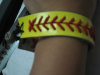 free shipping Bracelet SOFTBALL BASEBALL Leather Ball Sports Jewelry / wholesale