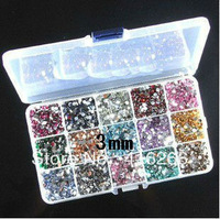 Hot selling!15000pcs/bag 3mm SS12 Resin rhinestone flatback 15 colors Random+15 grid drilling box DIY Free shipping
