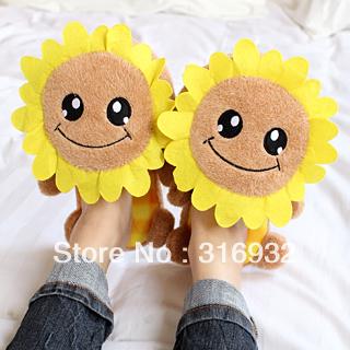 K5 Winter sunflower slip-resistant women cotton-padded slippers, 1 pair