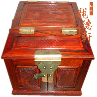 Rosewood dressing box with mirror wood sculpture shuangfeng wooden mirror cabinet antique mahogany crafts decoration
