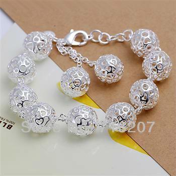 H088 Free Shipping 925 Silver Bracelet Fashion Jewelry Bracelet  Full three-dimensional ball bracelet arna jiua