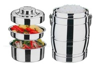 Double stainless steel thermal insulation lunch box Thermos Pot git Thermos Vacuum food box basket two or three layer