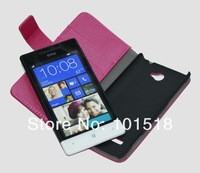 New Embossed leather case for HTC Windows Phone 8S Rio ,inner standing+FILM