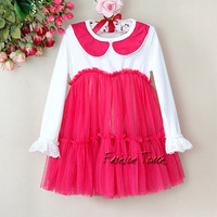 New Fshion Children Princess Party Dresses For Girl Red Formal Cotton and Chiffon Lace Girls Dress For Kids Wear GD21215-03^^FT
