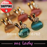 Women's Lovely Rhionestone Rabbit Stud Earrings Fashion Jewelry 12pcs/lot Free shipping HK Airmail