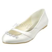 Aineny99 Custom Made Ivory Round Toe Rhinestone Flat Heel Pumps Satin Wedding Bridal Evening Party Shoes Free Shipping L274