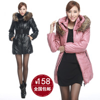 Plus size Women's luxury large fur collar slim medium-long down cotton raccoon fur PU wadded jacket female overcoat