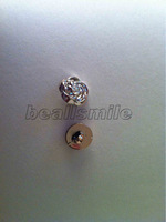 free shipping 2012 fashion 15mm silver hand sewing on rose buttons  nailhead DIY accessories 100pcs/lot