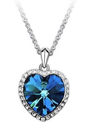 Min.order is $15 (mix order) Free Shipping&Ocean Heart Titanic Necklace Pendant for Women,Charms Blue Heart Sweater Chain#N460(China (Mainland))
