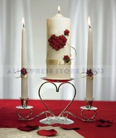 Flower of Love In Romantic Red Unity Candle & Taper Ceremony Set for Wedding Decoration Gifts Favors Supplies Free Shipping