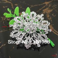 6PCS/Lot P671-003 Free Shipping Broche Argent Neuf Fleur Paillettes Claires Cristal Look Moderne