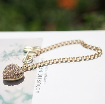 Min.order is $10 (mix order) 61C42  Fashion  rhinestone heart bracelet jewelry  ! Free shipping!! cRYSTAL sHOP