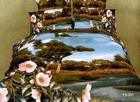 home textile 3D oil painting dream island river pink flower pattern Duvet quilt covers sets 4pcs Full/Queen bedding cotton sets