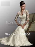 vestidos noivas 2013 Sexy White Dresses V Neck 3/4 Sleeves Mermaid Lace Tulle Bolero Winter Wedding Dresses AB8900