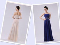 Women Long Ankle-length Gown Party Dress Elegant Chiffon Evening Dress  5 Colors Custom Made
