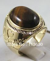 Fine men/women's 13*18mm tiger eye stone bead 18KGP ring #8,9,10,11 available