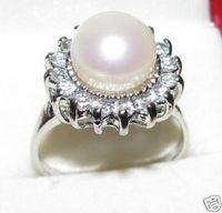Natural pearl white natural pearl ring gift 16