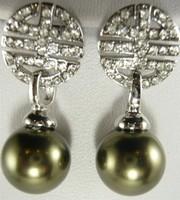 South Seas 10mm Army Green baileyi pearl earrings lucky Ruyi girlfriend gifts