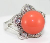 South Seas 12mm powder coral shell pearl ring gift