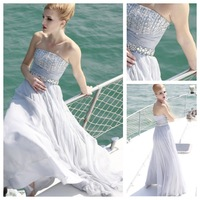 Chic & Modern Beaded Belt Elegant & Luxurious Strapless Sleeveless Jewel Accented Bodice Chiffon Prom Dress